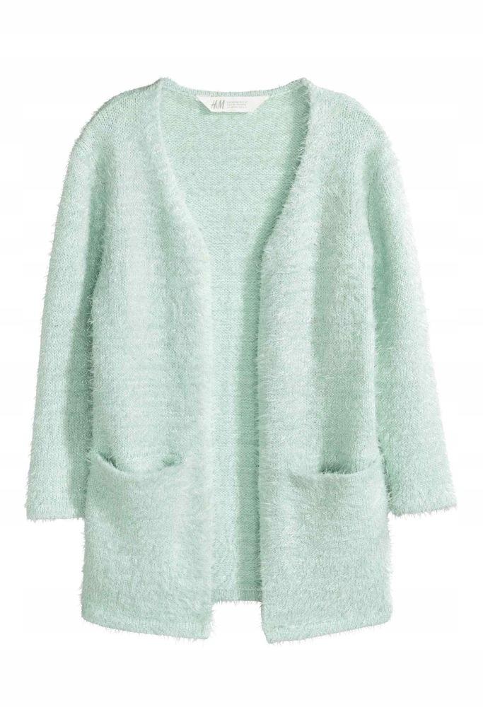 H&M sweterek długi włochaty KARDIGAN 122/128