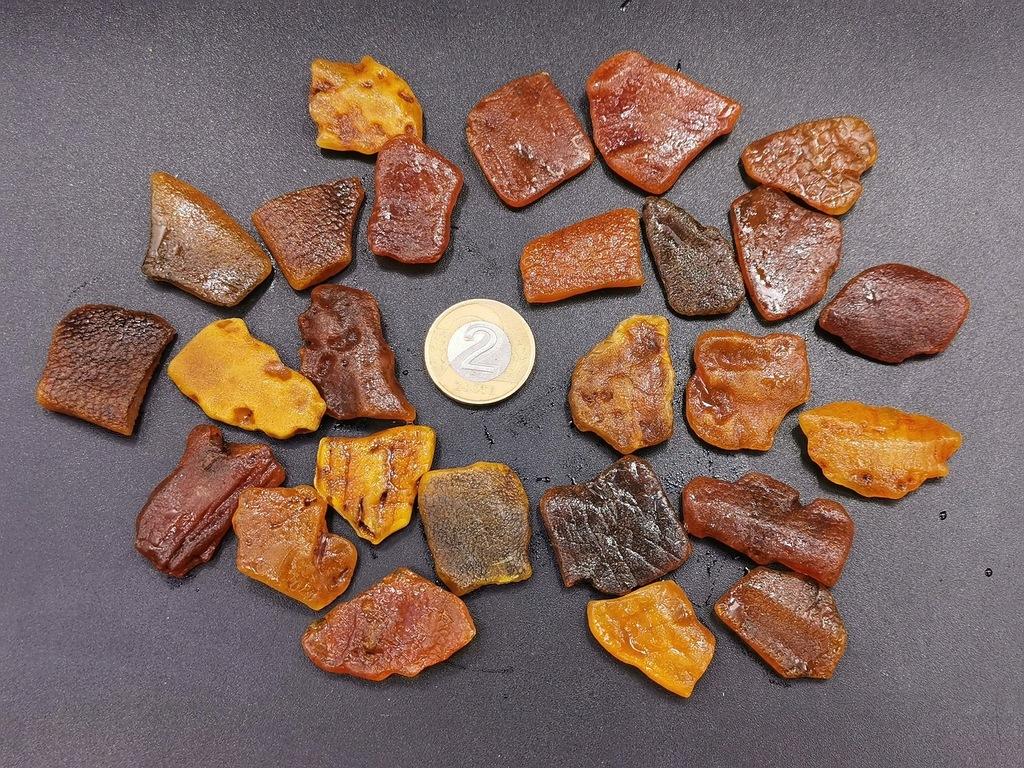 Bursztyn bałtyk surowe płaskie bryłki zestaw 40,4g