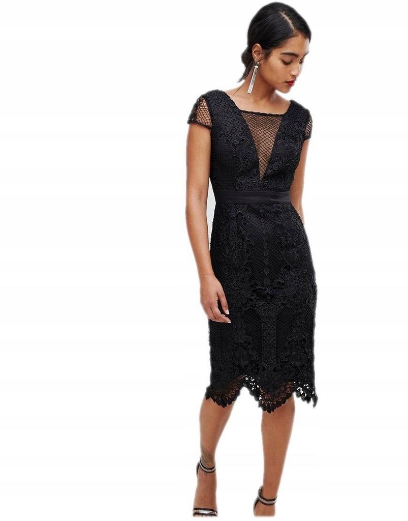 CHI CHI LONDON sukienka MIDI czarna OŁÓWKOWA XL 42