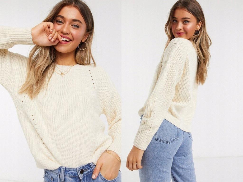 New Look Prążkowany sweter w złamanej bieli S