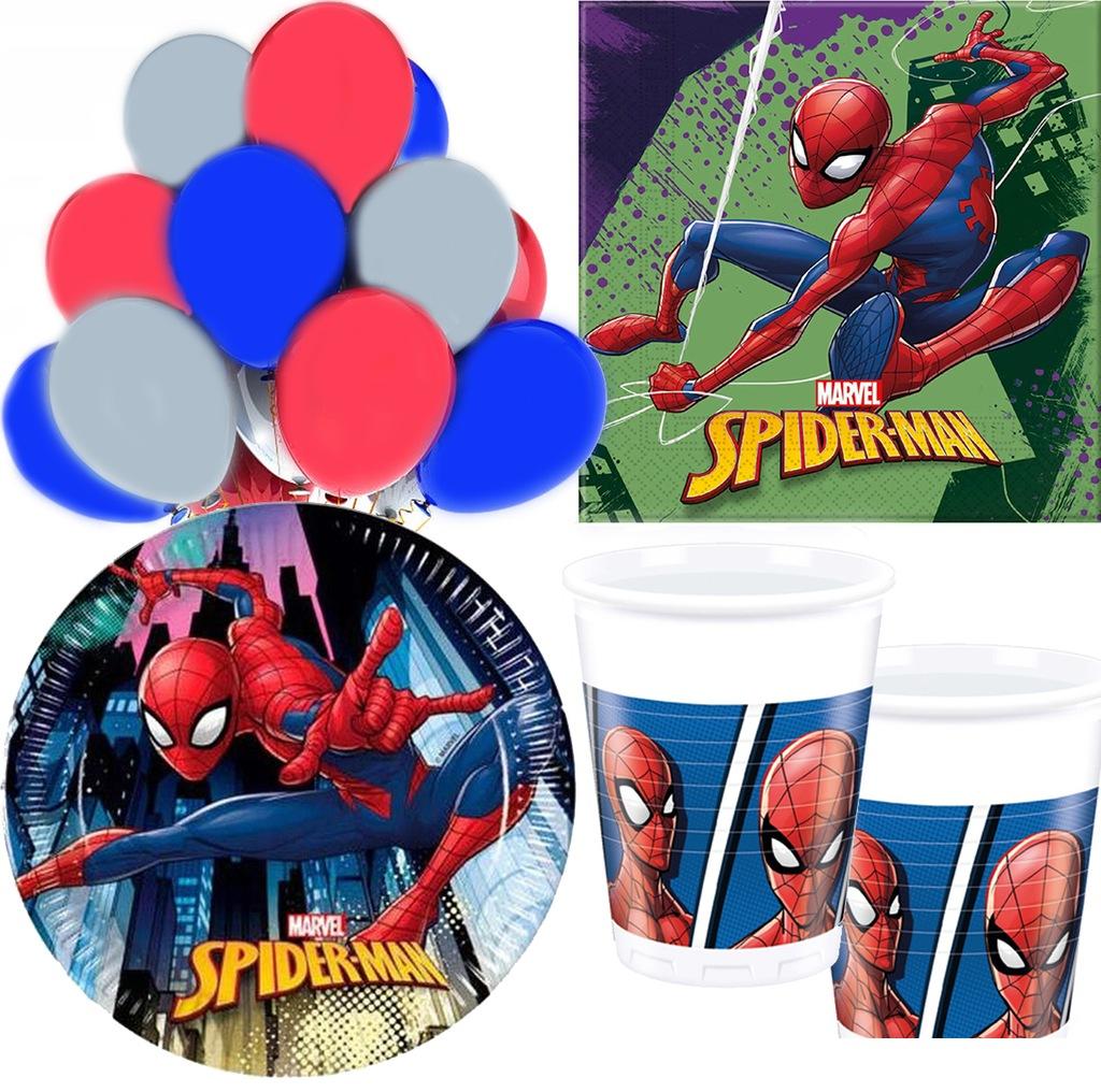 Zestaw SPIDERMAN serwetki talerzyki kubki balony