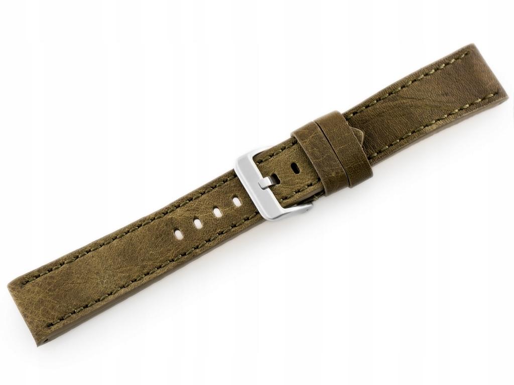 Pasek skórzany do zegarka W48 - PREMIUM - oliwkowy