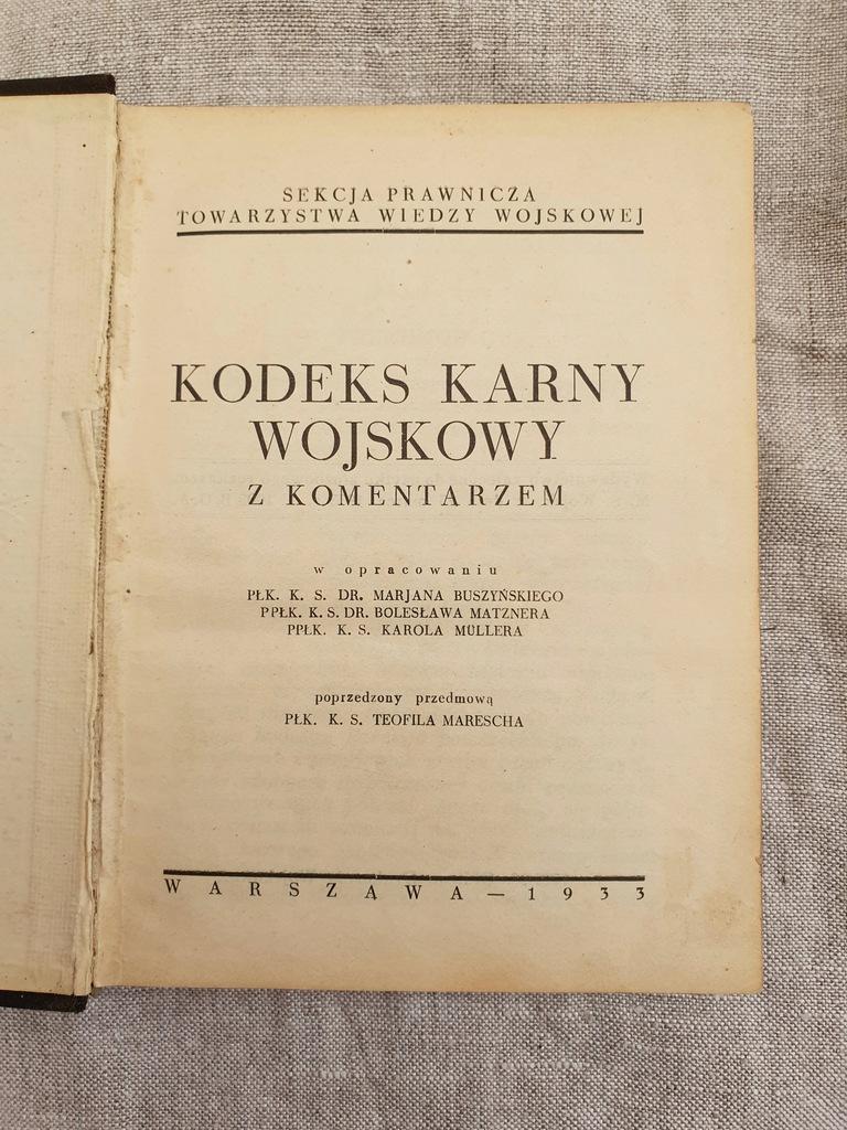 KODEKS KARNY WOJSKOWY WARSZAWA 1933