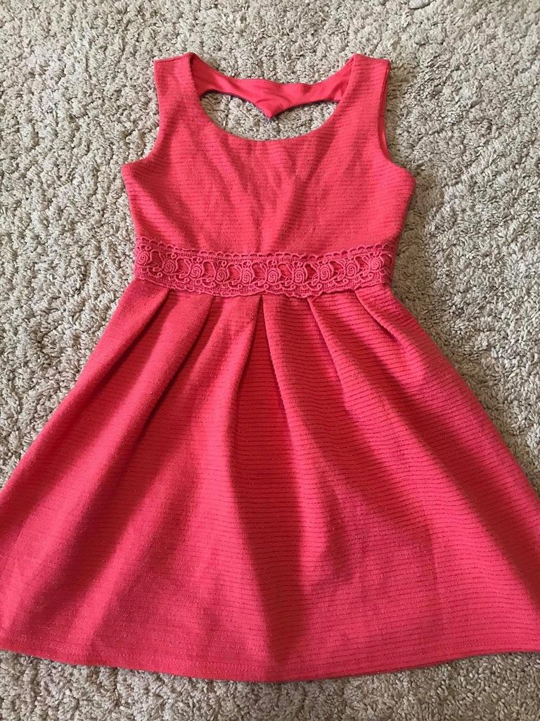 Sukienka 122 cm, 6 lat, J. Next, Serce, złoto