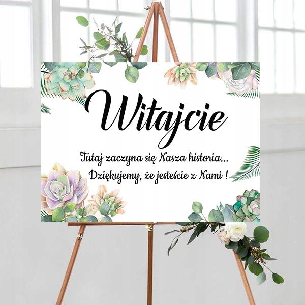 Tablica powitalna, motyw kwiatowy, sukulent