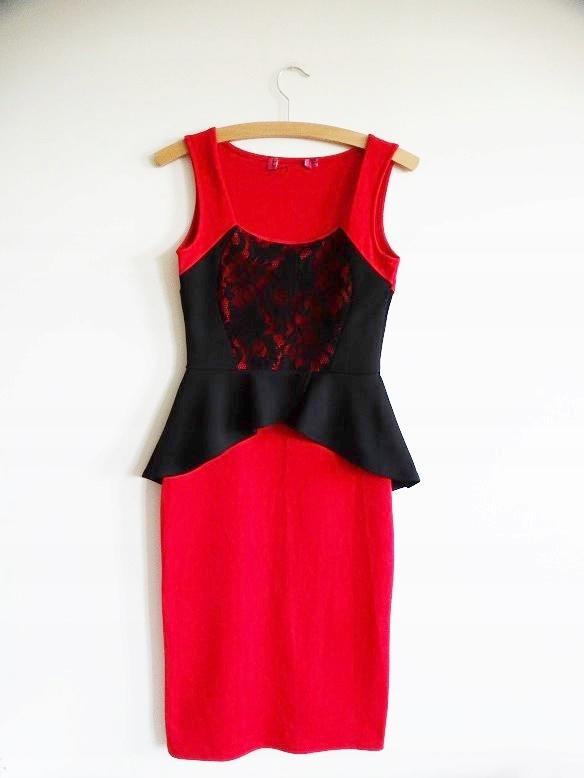 BOOHOO czerwona sukienka czarna koronka wesele 38