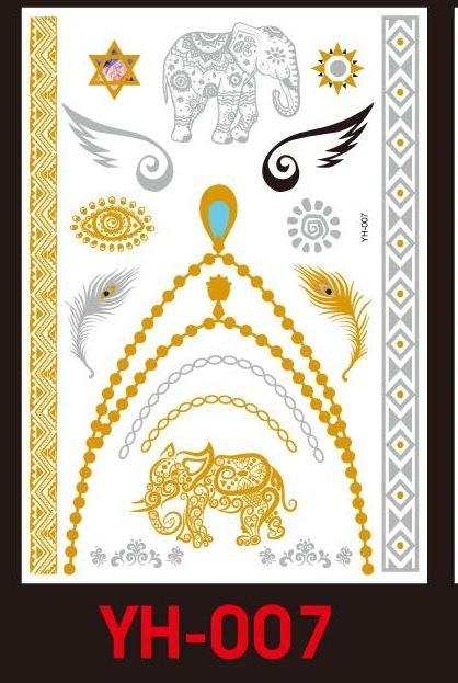 Tatuaże metalic złote srebrne FLASH TATTO YH-007