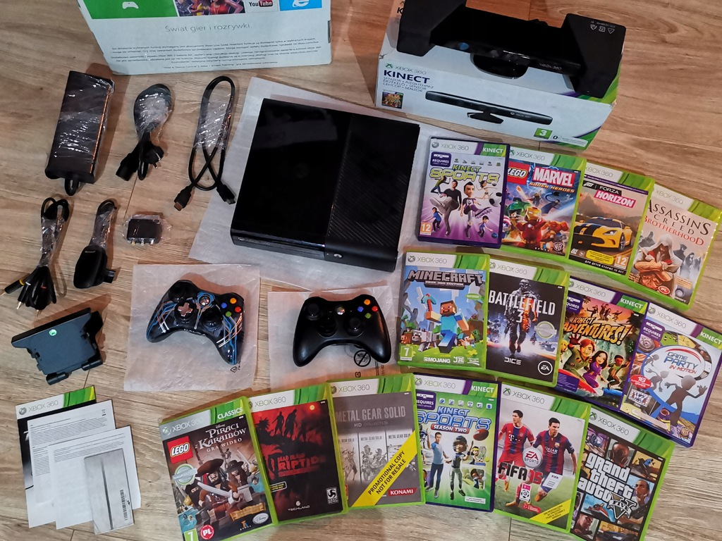 Zestaw Kinect Xbox 360 500gb 20 Gier Pady 9497088006 Oficjalne Archiwum Allegro