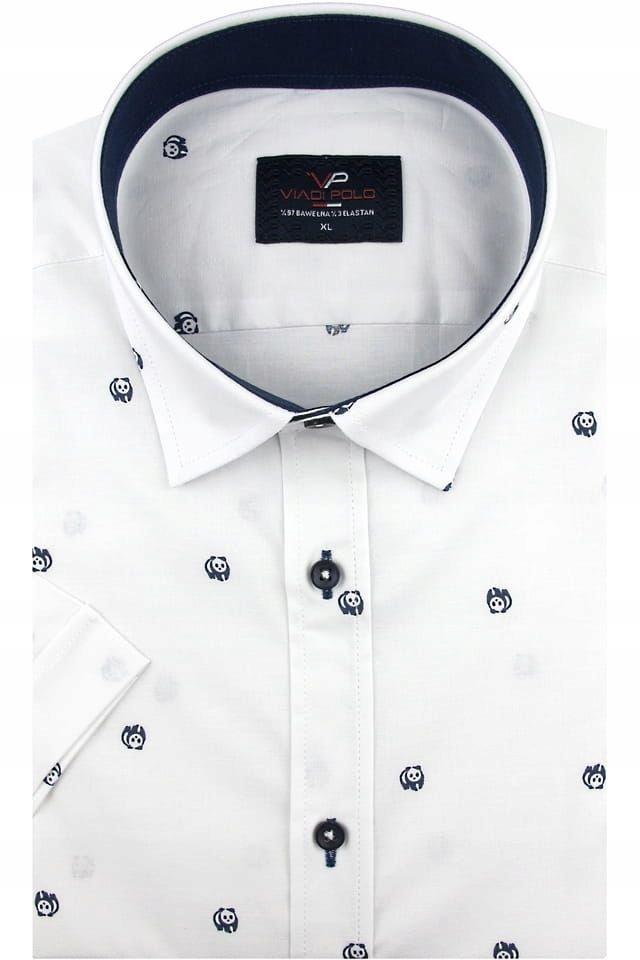 Koszula Męska biała w pandy SLIM FIT elastan K882