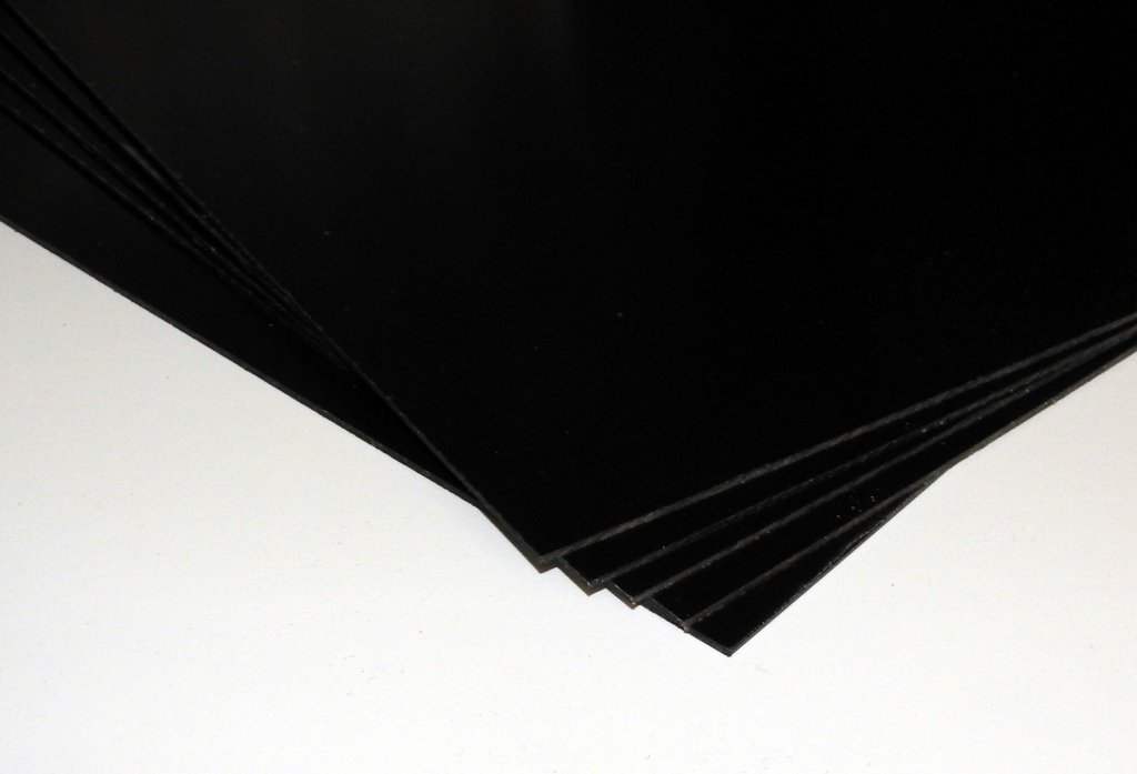 Polistyren HIPS czarny, 1mm, płytka 23x23cm