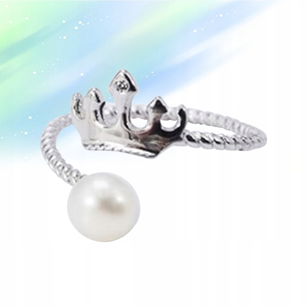 Fashion Pearl Ring Pure Silver Open Ring Adjustabl