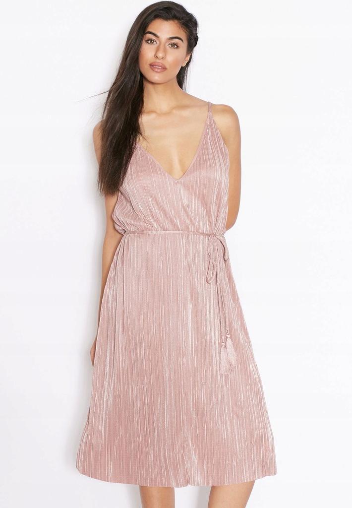 Sukienka metaliczna róż na ramiączkach TopShop S