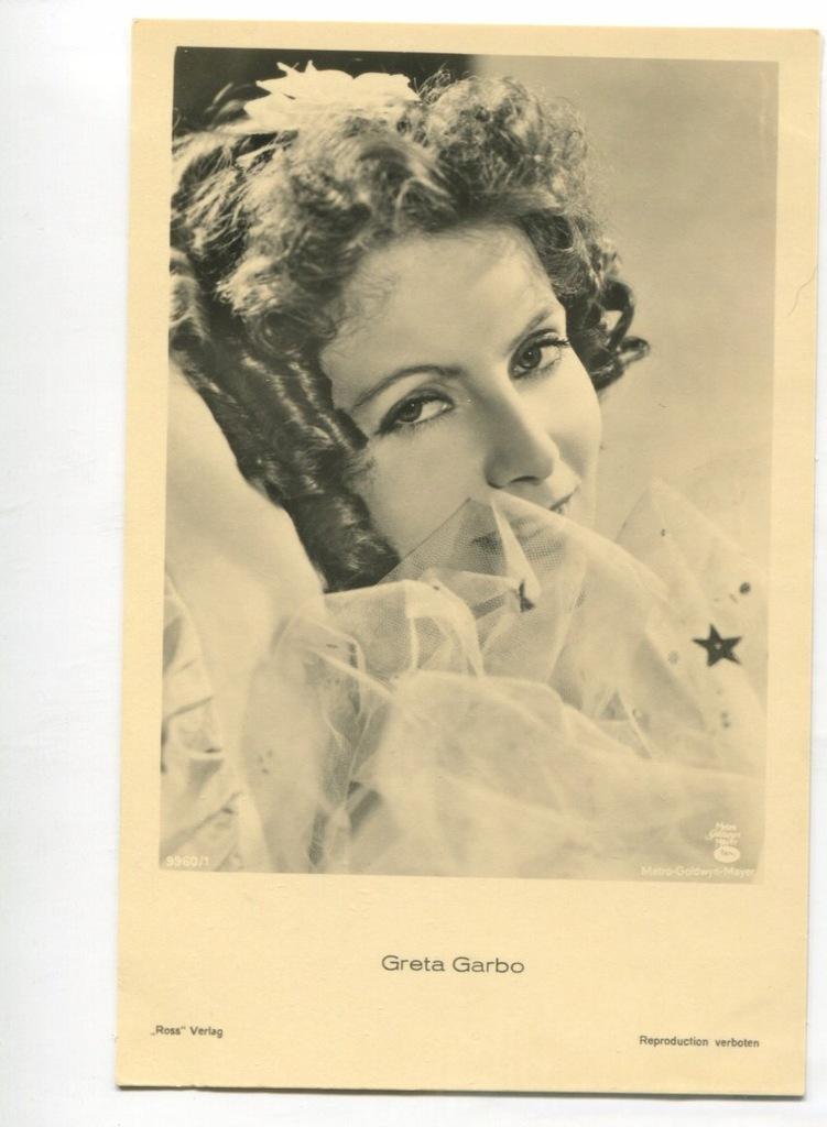 Greta Garbo Kino Film Aktorka Foto Pocztówka 17