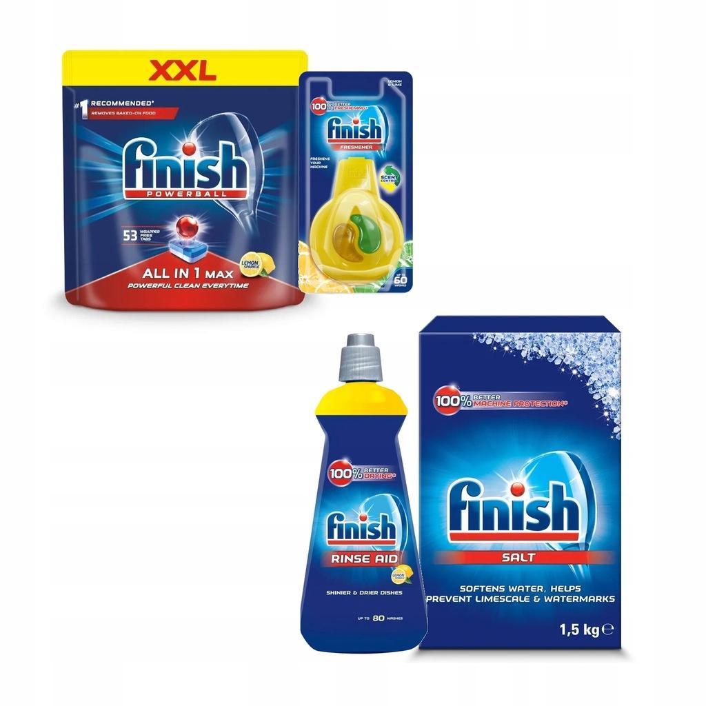 FINISH All in1 MAX Zestaw Zmywarki 4szt Sól Zapach