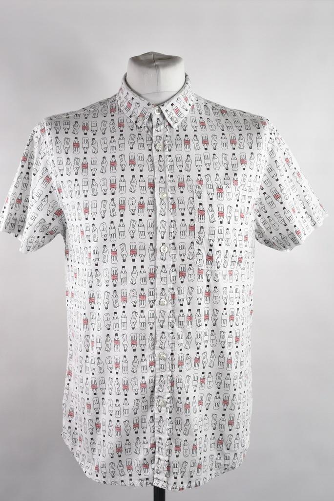 CEDAR WOOD STATE biała koszula w coco-cole r.M