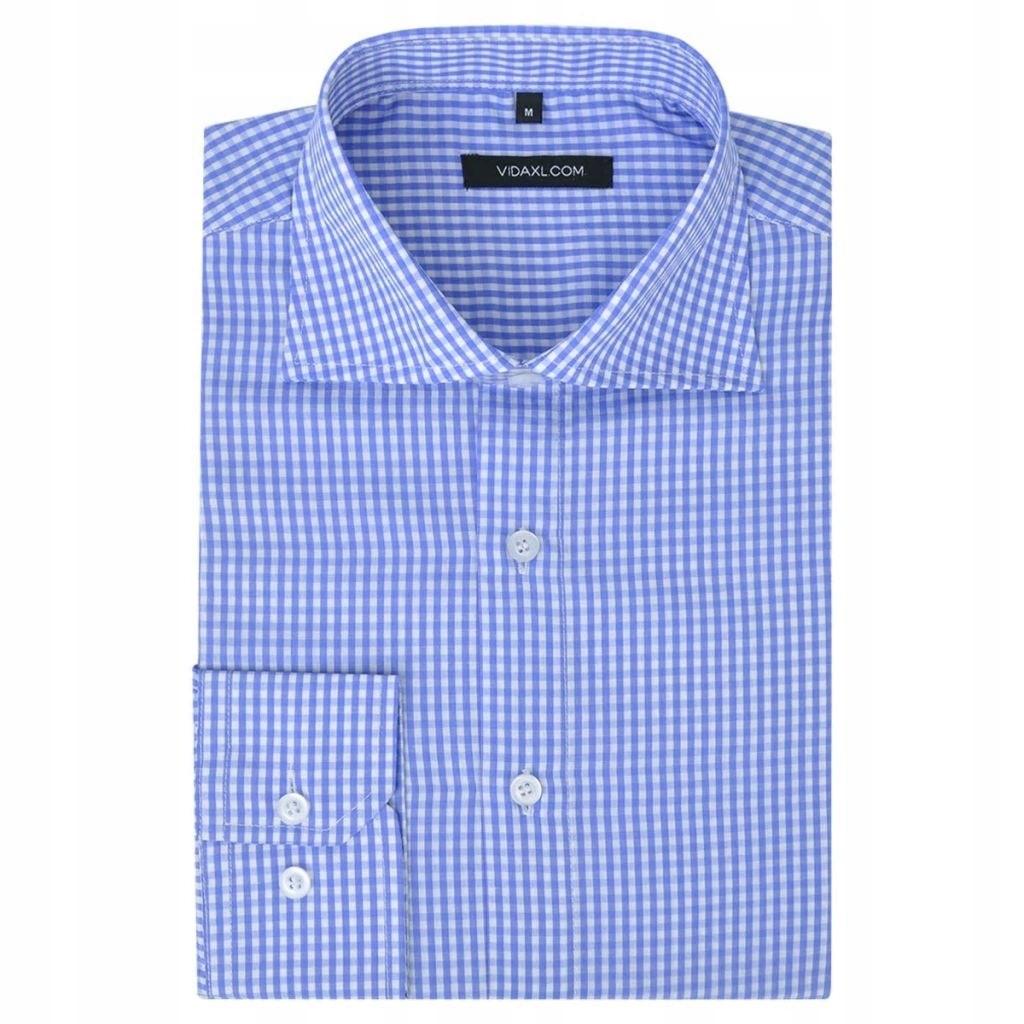 VidaXL Męska koszula biała w błękitną kratkę rozmi