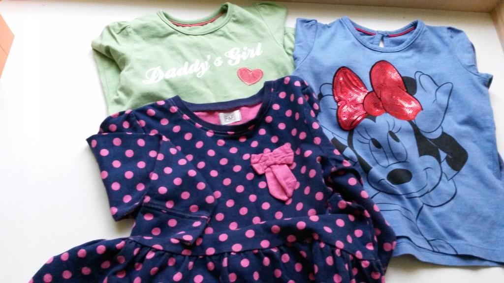 zestaw dla dziewczynki 2-3 lata, sukienka bluzki