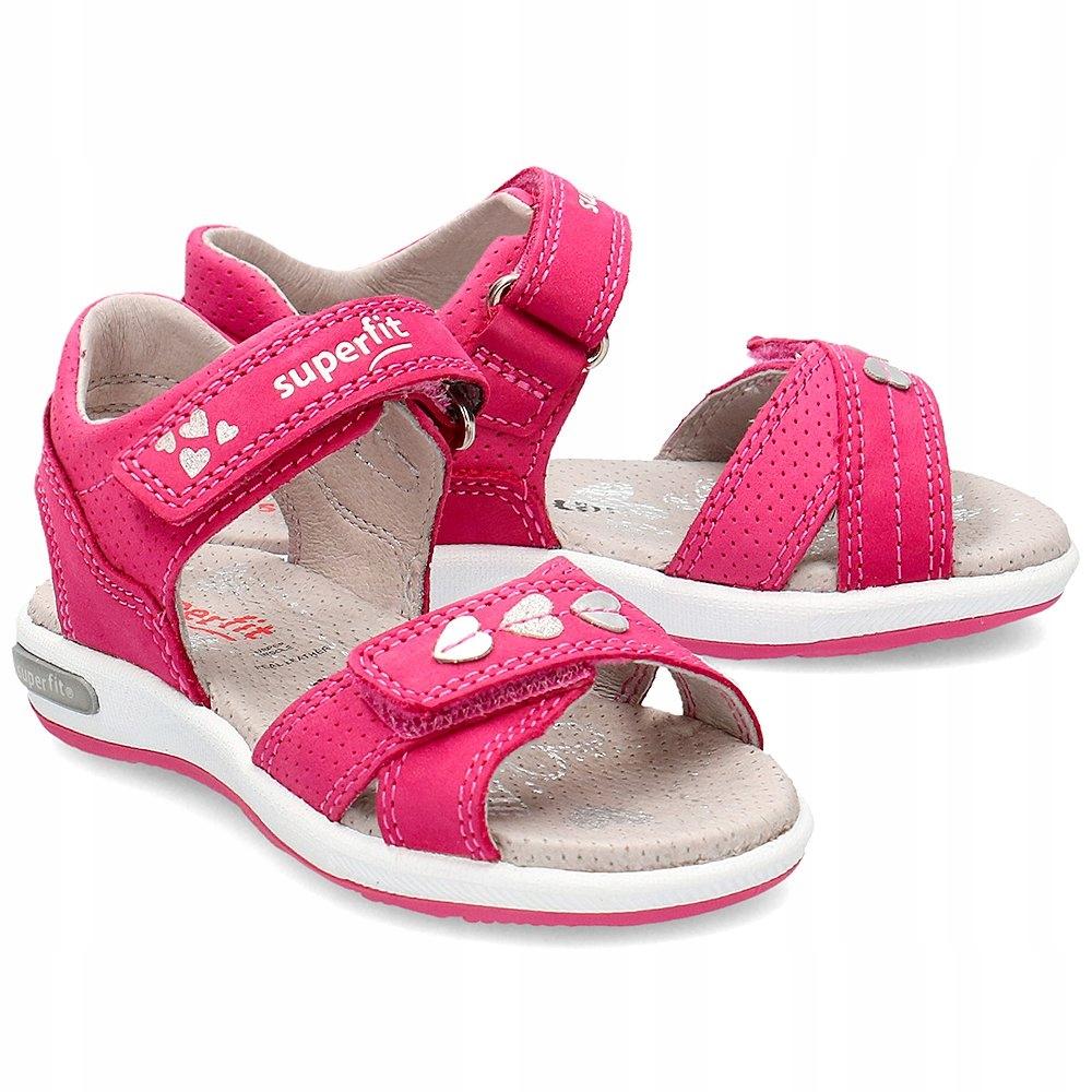 Superfit Różowe Skórzane Sandały Dziecięce R.28