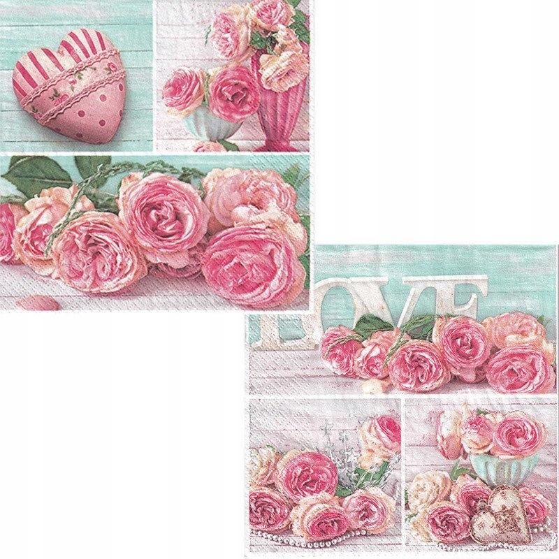 Serwetka do decoupage 33x33cm - kwiaty róże