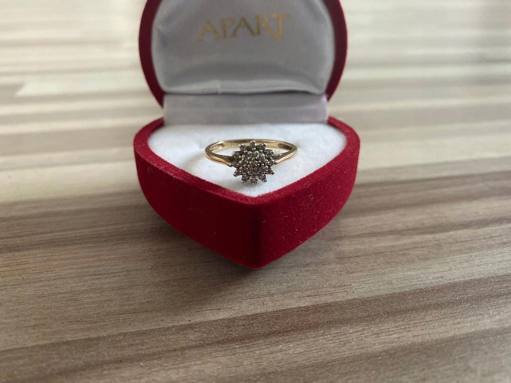 Apart Pierścionek roz.12 Diament Złoto 585 Certyfi