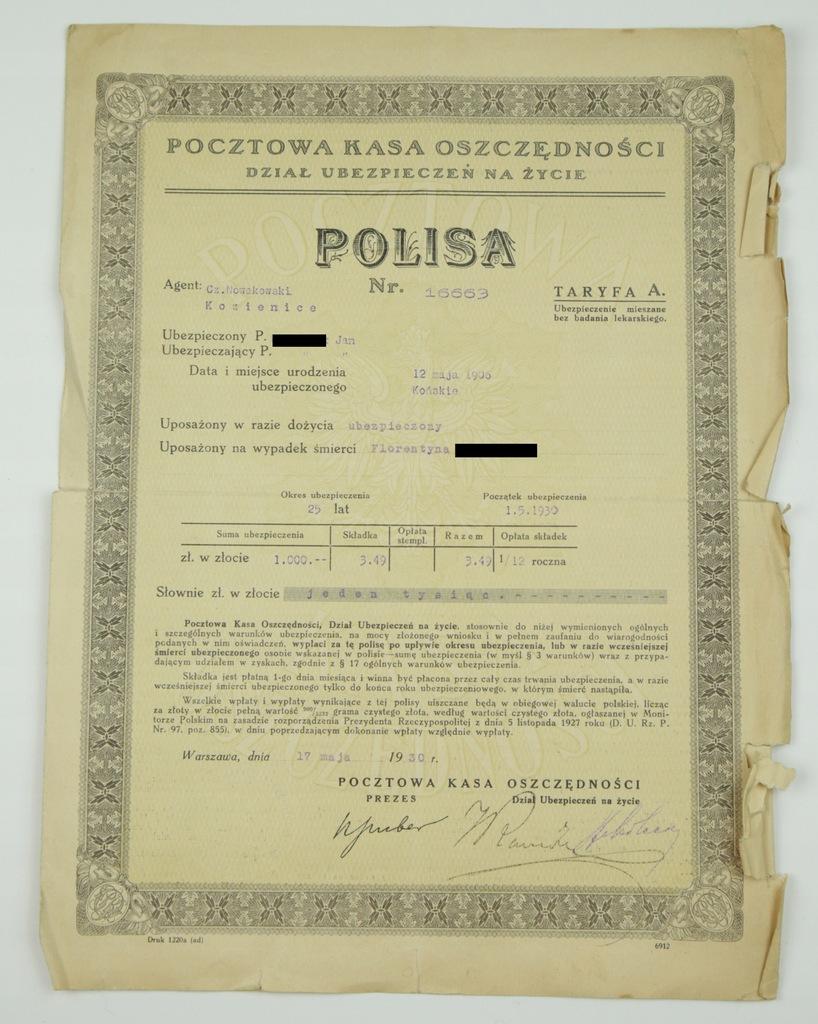 Polisa Na Życie 1.000 zł - PKO Warszawa 1930 r.