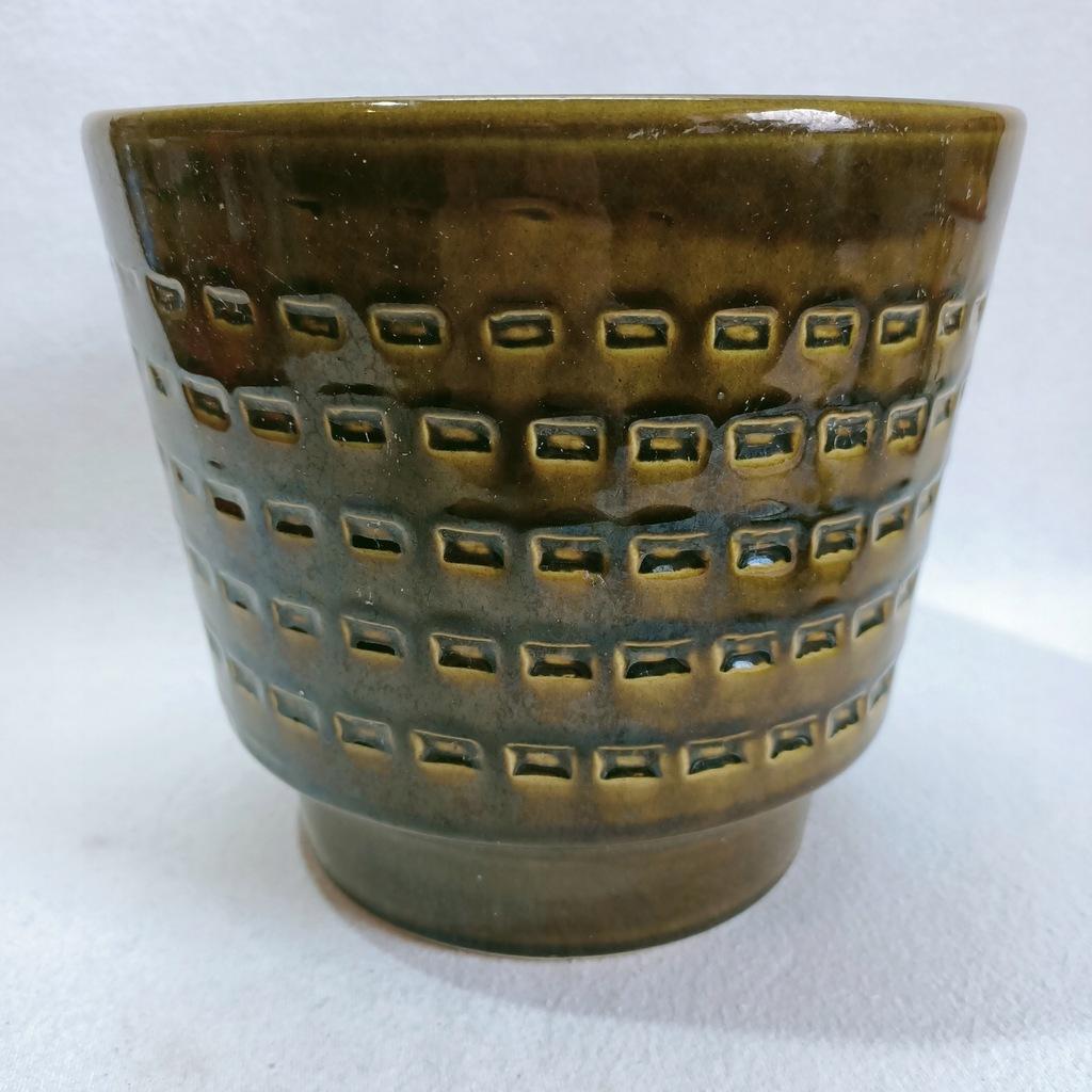 Osłonka ceramiczna na doniczkę retro mid-century