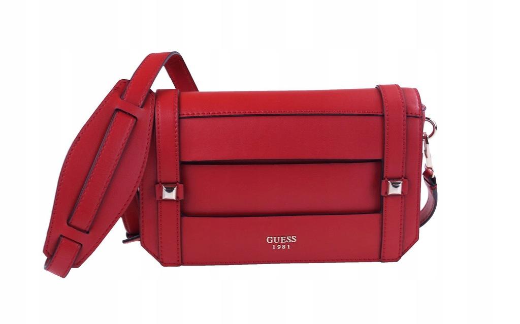 Czerwona elegancka torebka guess a4 dużo kieszeni
