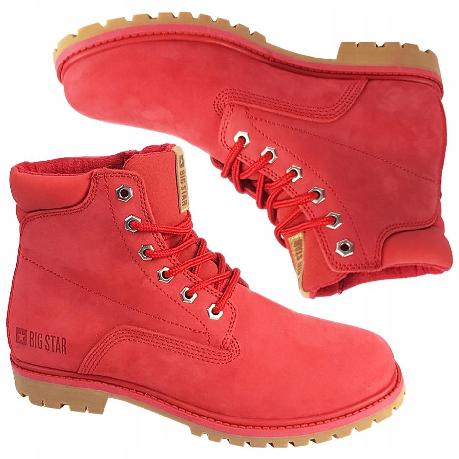 Buty zimowe Big Star BB274093 czerwone skórzane 38