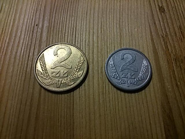 monety 2 zł z przełomu PRL-u 1988 i 1990 rok