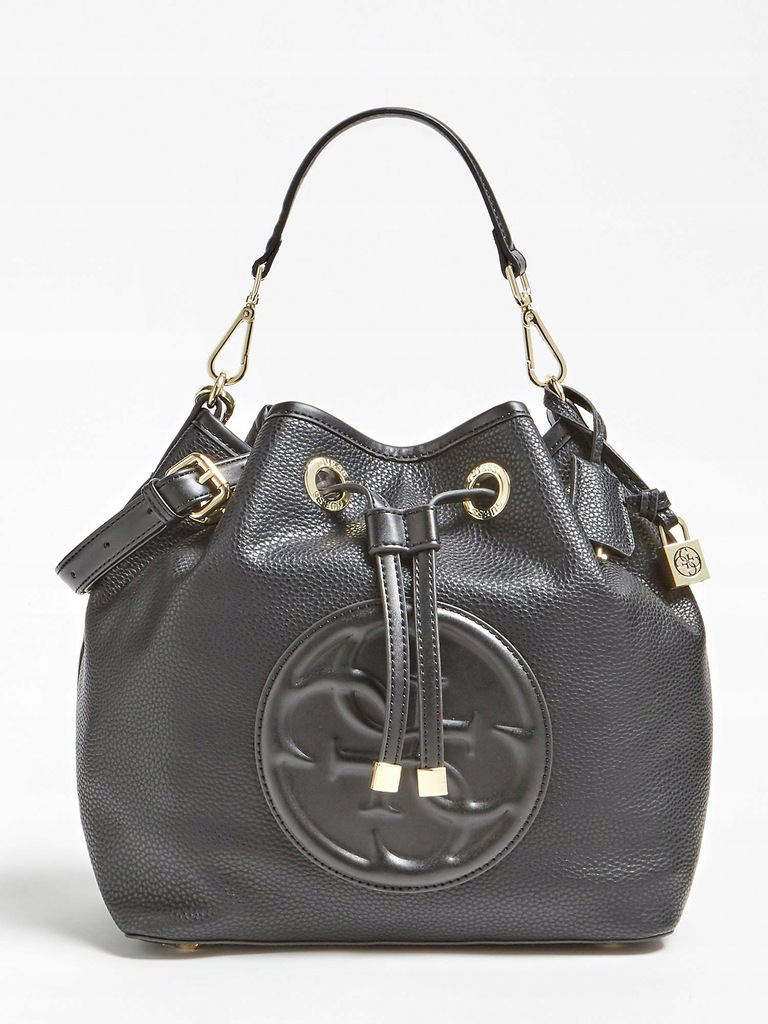 Torba torebka GUESS logo czarna worek plecak MEGAN