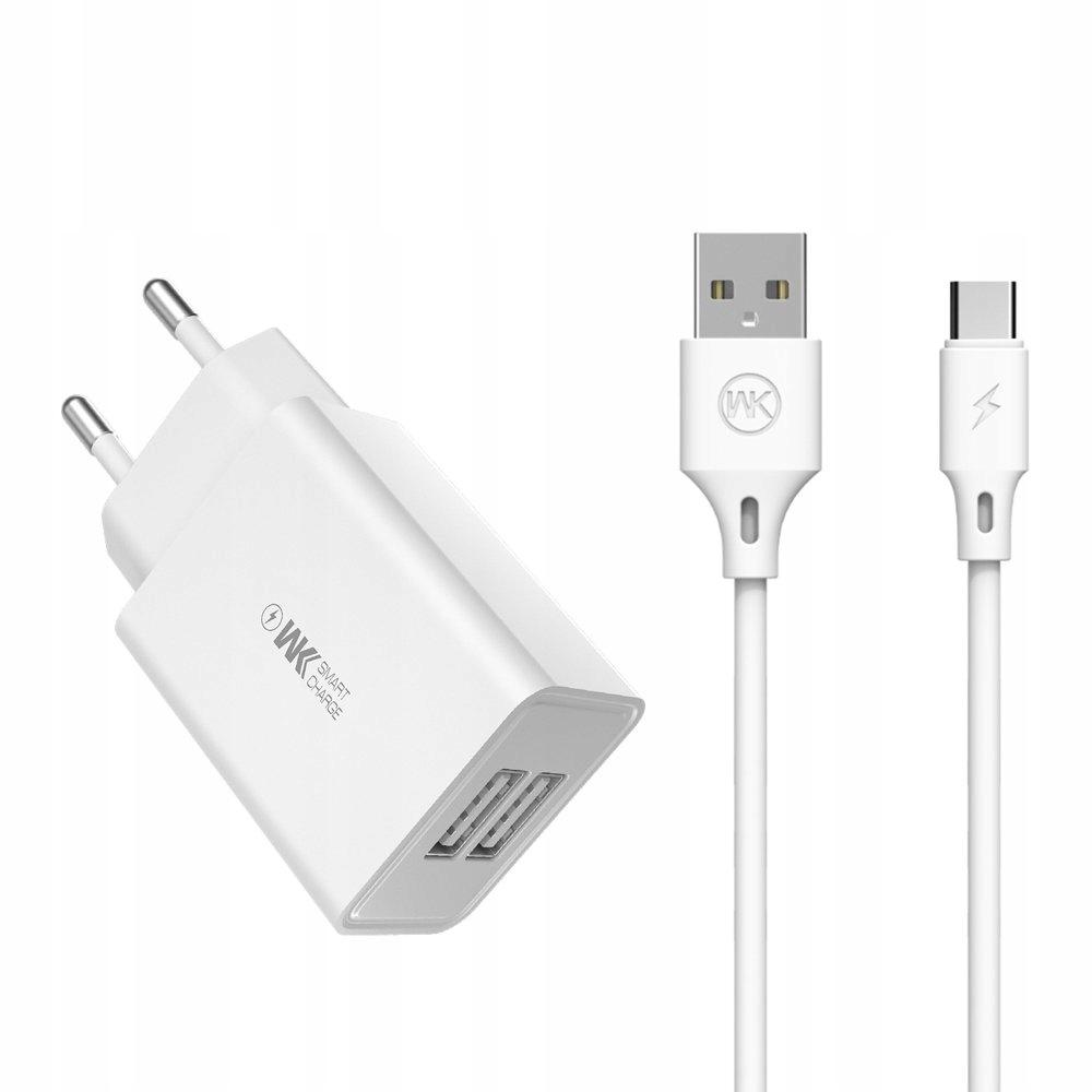 WK Design 2x USB 2 A + kabel USB - USB Typ C