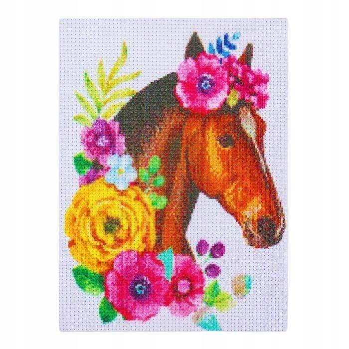 Zestaw do kreatywności. 20 x 15 cm koń ścieg