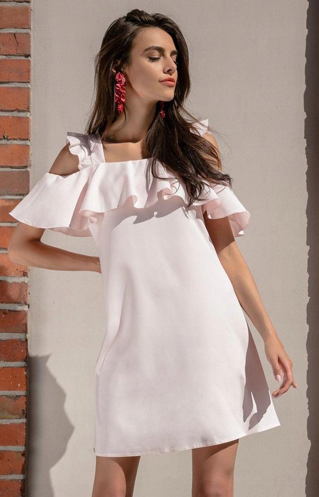 Sukienka F536, róż pudrowy, M