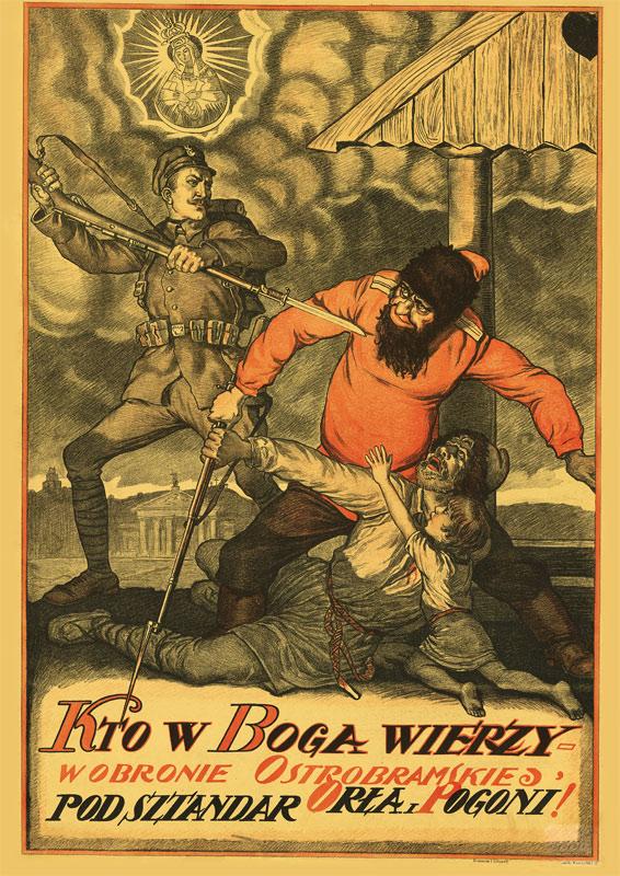 Plakat A3 - Kto w Boga wierzy w obronie 1920 repro