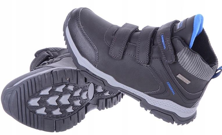 Buty chłopięce zimowe na rzep czarne 40 LXC-7715-W