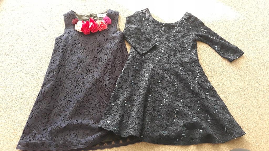 Koronkowe sukienki granat H&M M&S 116 idea
