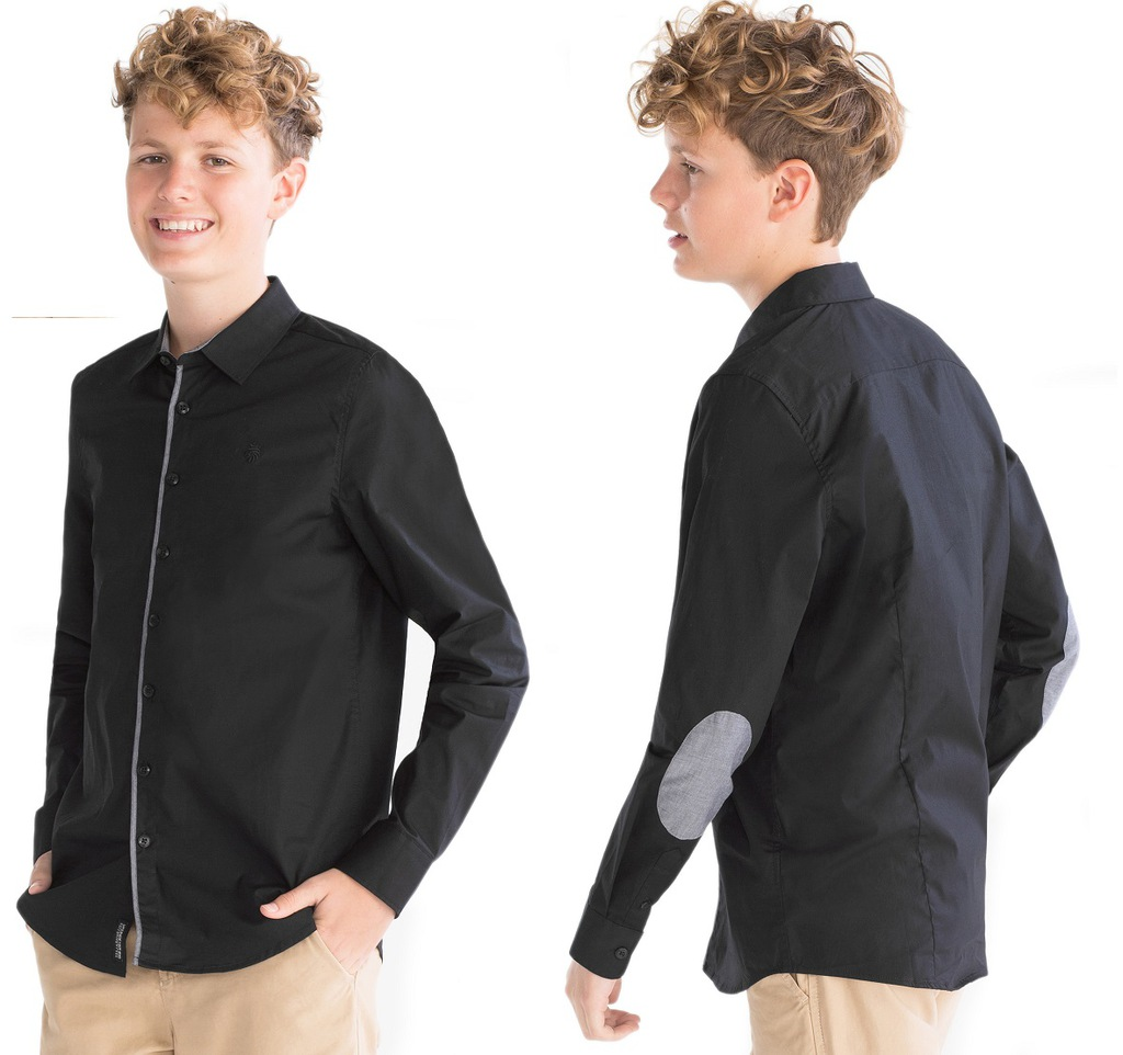 C&A Koszula czarna z łatkami - NOWA - 146/152
