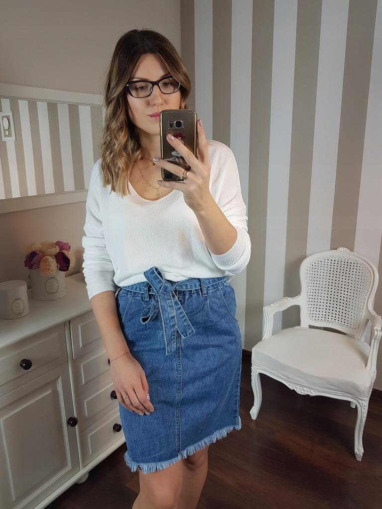 Made in Italy, Spódnica Jeansowa Wiązana w Talii, 36,38,40