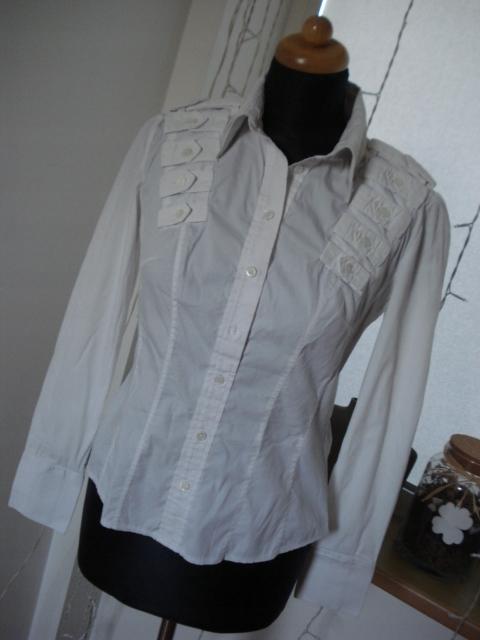 KAREN MILLEN biała elegancka koszula pagony 40/L