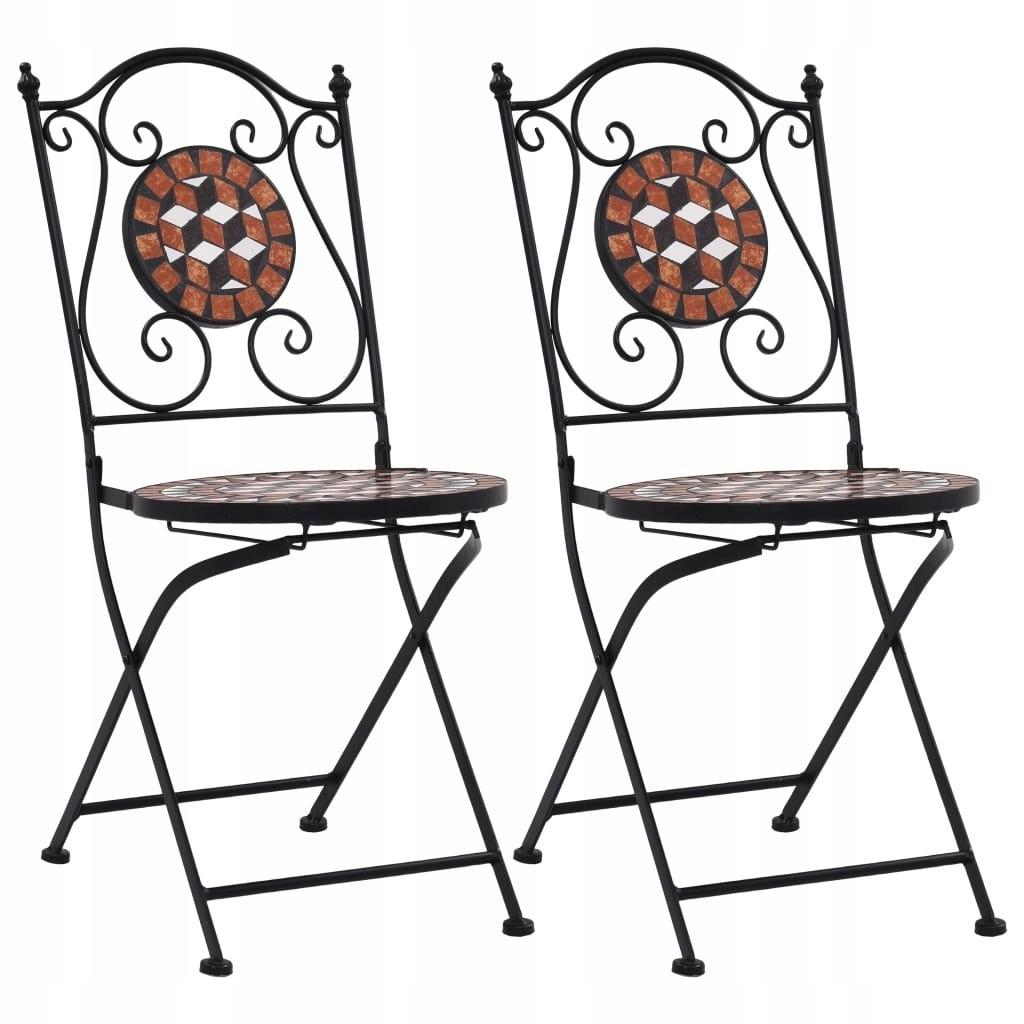 Mozaikowe krzesła bistro, 2 szt, brązowe, ceramicz