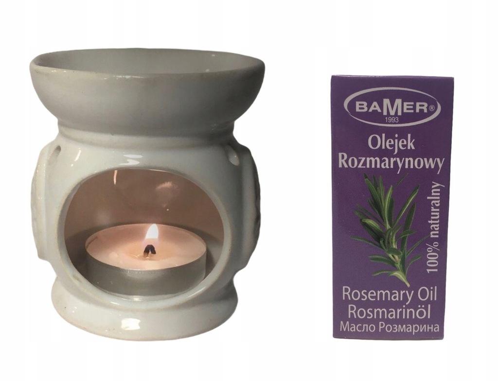 Zestaw Olejek ROZMARYNOWY Kominek Ceramiczny Biały