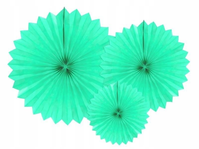 Rozety dekoracyjne jasna mięta 20-40cm, 150 szt.