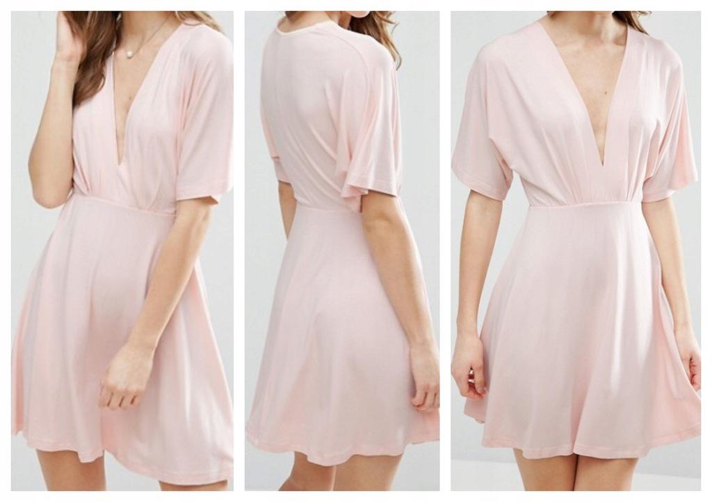 T24 sukienka wygodna brzoskwiniowa przewiewna 36