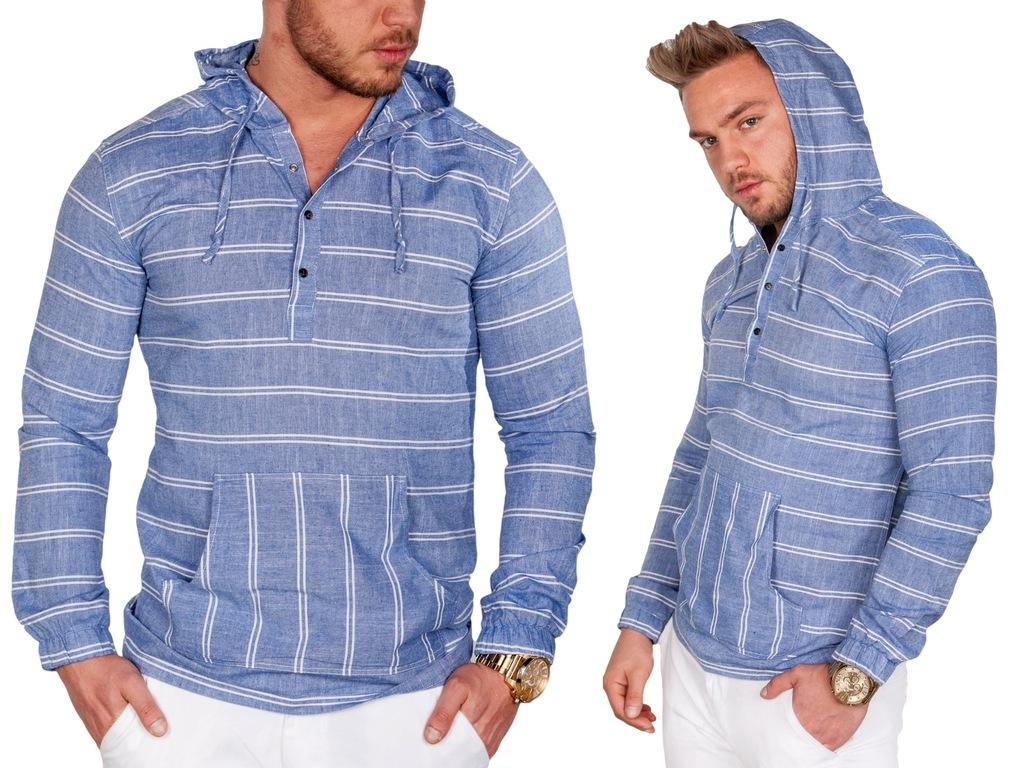Koszula lniana niebieska z kapturem Code-204 r.XXL