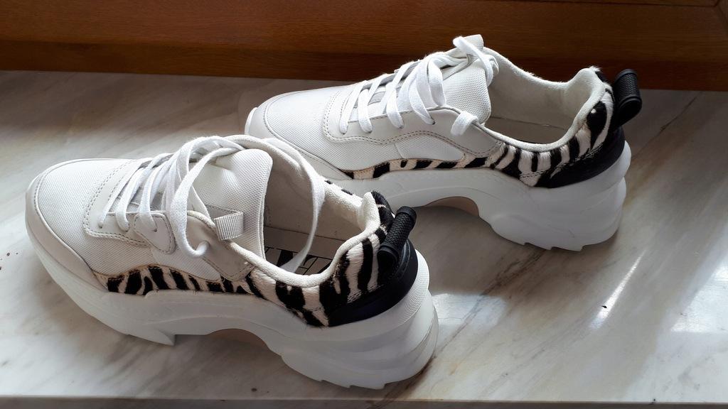 Biało Panterkowe Sneakersy Zarra