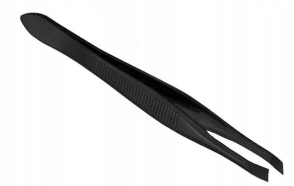 Skośna precyzyjna pęseta do depilacji brwi czarna