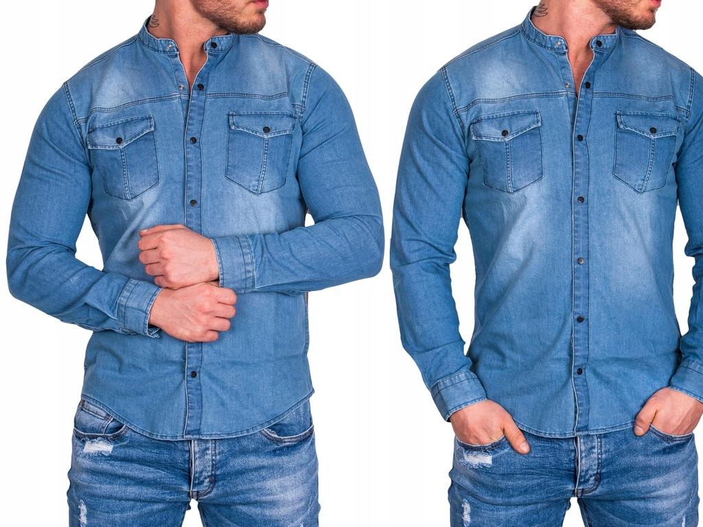 Koszula męska jeansowa ze stójką Ely-1 rozm. XL