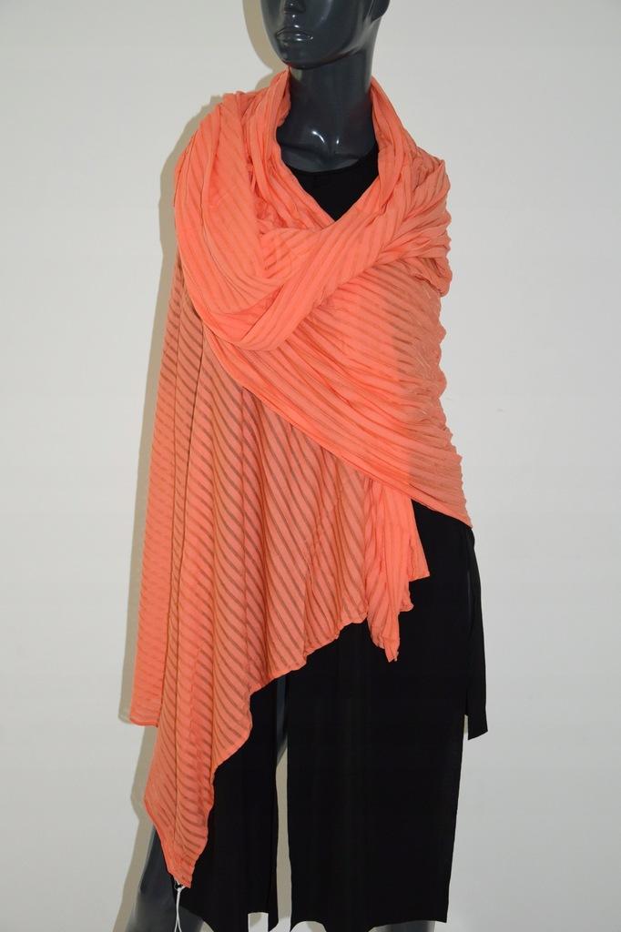 COS pomarańczowy duży szal chusta wiskoza paero