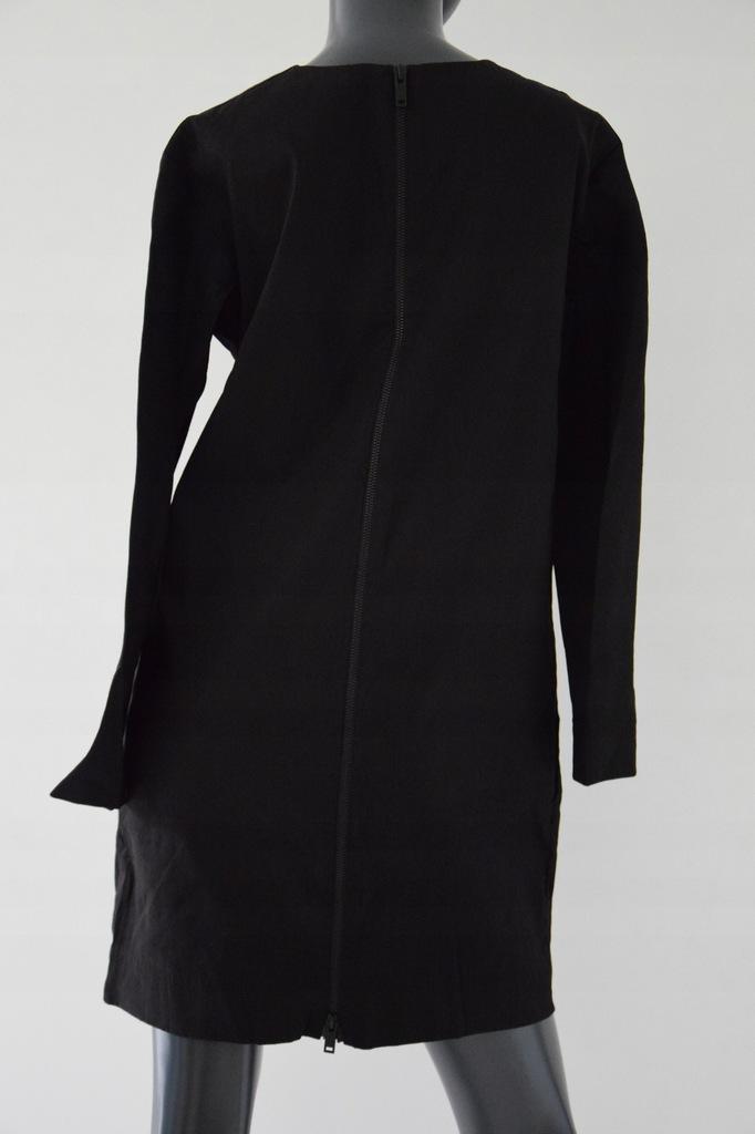 cos czrna sukienka len wiskoza zip M/38
