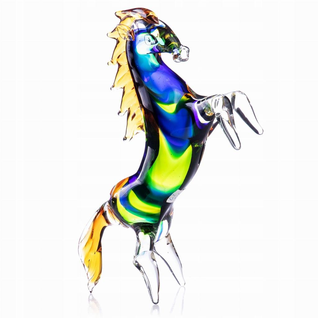 Figurka Kolorowego Konia ze Szkła Dekoracyjna